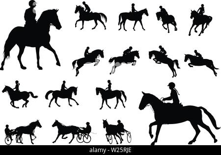 horse riding silhouettes collection. Equestrian sport and recreation silhouettes - vector - Stock Image