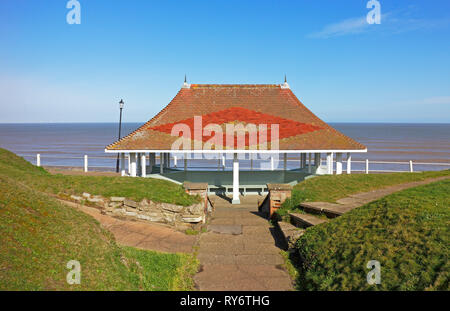A view of a public shelter on the west cliffs in the North Norfolk seaside resort of Cromer, Norfolk, England, United Kingdom, Europe. - Stock Image
