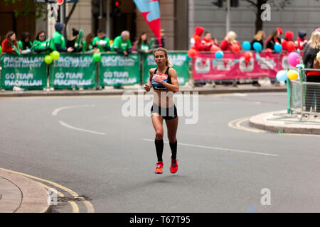 Hayley Carruthers (GBR), competing in the Elite Women's 2019 London Marathon.  She went on to finish 18th in her Category, with a time of 02:33:59 - Stock Image