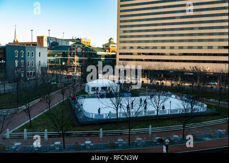 Ice Rink in downtown Lexington Kentucky - Stock Image