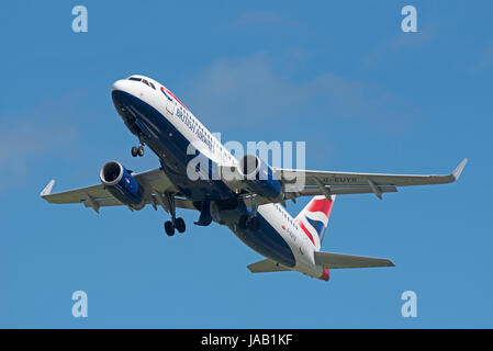 The British Airways Airbus A 320-232 Inverness flight departing Dalcross airport for London Heathrow - Stock Image