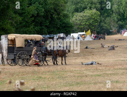 Duncan Mills, CA - July 14, 2018: Union ambulance rescuing wounded soldiers at the Civil War Days, one of the largest reenactment events on the West C - Stock Image