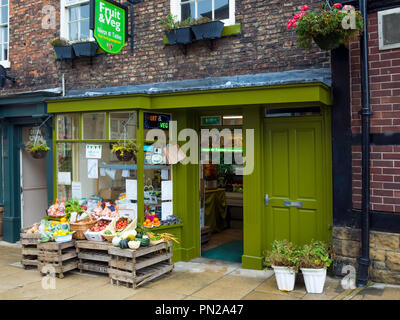 Neeps and Tatties fruit and vegetable shop selling local produce in Richmond  North Yorkshire England UK - Stock Image