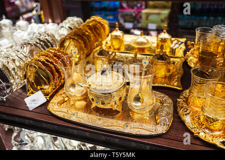 DUBAI, UAE - MARCH 02, 2019: Traditional arabic tea pot souvenir in the duty free zone in the Dubai International Airport in UAE - Stock Image