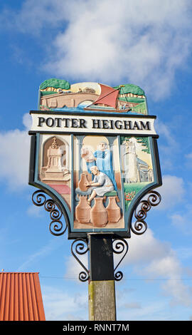 The village sign at Potter Heigham, Norfolk, England, United Kingdom, Europe. - Stock Image