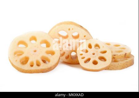 Lotus root on white background - Stock Image