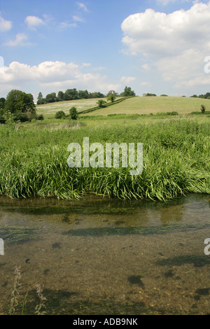 River Chess and Chiltern Hills in Spring Chess Valley Hertfordshire - Stock Image
