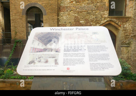 LONDON, UK - 9th August 15:A tourist information board that teaches the public tourists about the history of Winchester - Stock Image
