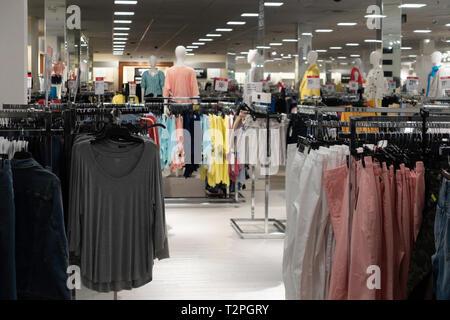 InsideJ.C.  Penny's department store, women's clothing department. Wichita, Kansas, USA. - Stock Image