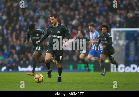 Eden Hazard of Chelsea pushes forward before scoring his second goal during the Premier League match between Brighton - Stock Image