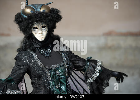Venice, Italy. 25th Feb, 2014. A masked female (Mosca Nera) with flies wings and headdress poses outside of the Doge's Palace during the Venice Carnivale Credit:  MeonStock/Alamy Live News - Stock Image