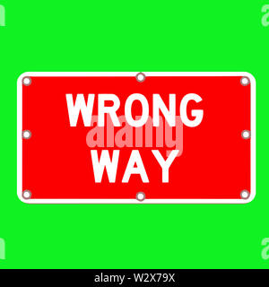 wrong way law street caution green color illustration - Stock Image