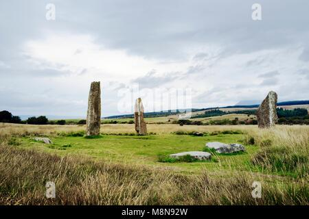 Machrie Moor prehistoric stone circles. Isle of Arran, Scotland. 4000+ year megalithic ritual site. Circle 2 shown. - Stock Image