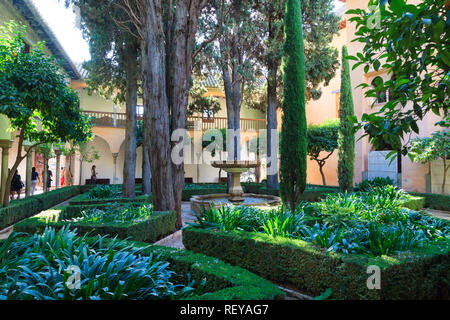 One of the enclosed gardens on the Alhambra Palace in Granada Spain - Stock Image