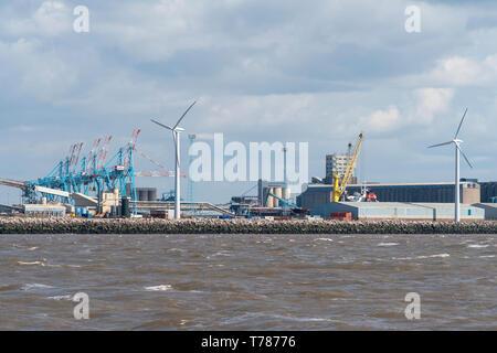 Seaforth docks Liverpool. Giant cranes. - Stock Image
