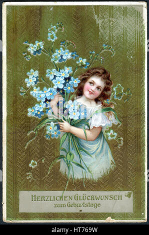 GERMANY - CIRCA 1915: A greeting postcard printed in Germany, shows a girl with flowers. The inscription in German: - Stock Image