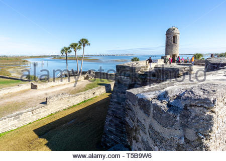 The main watch tower at the Castillo de San Marcos, a Spanish fortification at St. Augustine, Florida USA - Stock Image