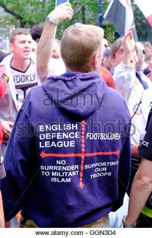 Nottingham, UK. 06th Aug, 2016. English Defence League March A small march by the Eng;ish Defence League marched - Stock Image