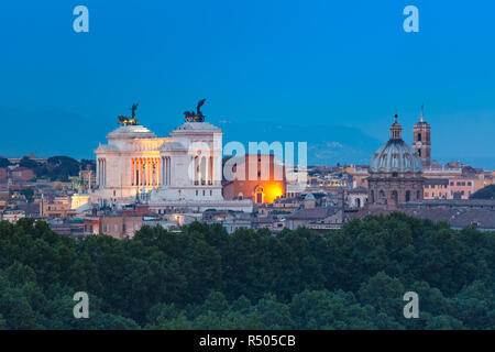 Aerial wonderful view of Rome at night, Italy - Stock Image