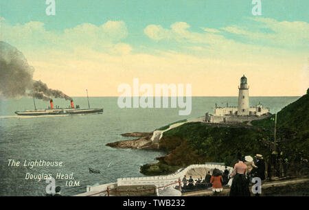 The Lighthouse, Douglas Head, Isle of Man.     Date: circa 1910s - Stock Image