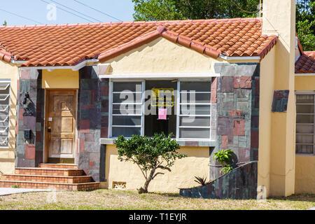 Miami Florida SW 26th 26 Road house single-family home sign foreclosure real estate economy economic crisis sub prime loan crash - Stock Image