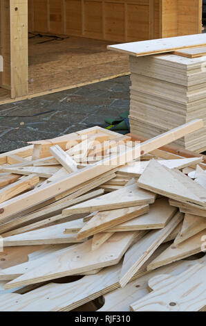 Wood boards at a construction site - Stock Image