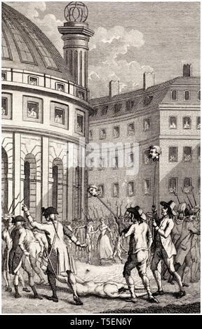 French soldiers carry the heads of de Launay and de Flesselles through the streets of Paris after the storming of the Bastille by Daniel Friday, 1791 etching - Stock Image