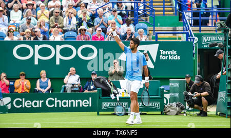 Eastbourne, UK. 24th June, 2019. Fernando Verdasco of Spain celebrates his win over John Millman of Australia during their match at the Nature Valley International tennis tournament held at Devonshire Park in Eastbourne . Credit: Simon Dack/Alamy Live News - Stock Image