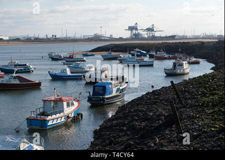 Fishing boats in Paddy's Hole at South Gare, Teesside, UK - Stock Image