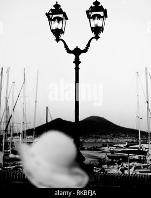 Italy. Vesuvius seen from the port of Naples - Stock Image