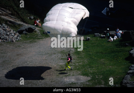 Picture Credit DougBlane com Russell Powell BASE 230 BASE Jumping Cheddar Gorge - Stock Image