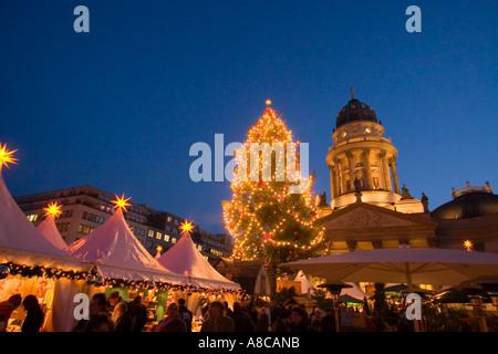 Berlin Gendarmenmarkt Christmas market in front of concert house german dome christmas tree - Stock Image