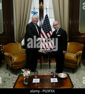 U.S. Secretary of State Rex Tillerson meets with Argentina Foreign Minister Jorge Faurie at Palacio San Martin in Buenos Aires, Argentina, on February 4, 2018. - Stock Image