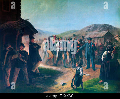 Called up for 19th Century military conscription in a small village in Dalarna County in middle Sweden. - Stock Image