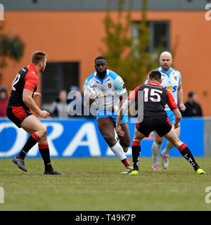 Crusaders Park, St Helens, UK. 14th Apr, 2019. Coral Challenge Cup rugby, Thatto Heath Crusaders versus Dewsbury Rams; Samuel Kibula of Dewsbury Rams attacks the Thatto Heath defensive line Credit: Action Plus Sports/Alamy Live News - Stock Image