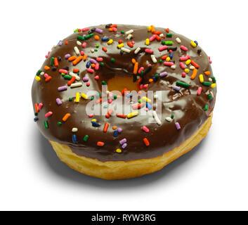 Chocolate Sprinkle Donut Isolated on White Background. - Stock Image