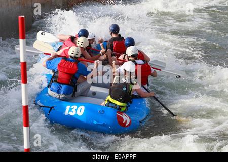 White water rafting at U.S. National Whitewater Center in Charlotte, North Carolina. - Stock Image