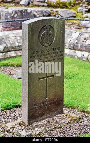 Grave of Field Marshal Douglas Haig. Dryburgh Abbey. Dryburgh, St.Boswells, Roxburghshire, Scottish Borders, Scotland, United Kingdom, Europe. - Stock Image