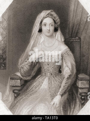 Queen Katherine.  Principal female character from Shakespeare's play Henry VIII.  From Shakespeare Gallery, published c.1840. - Stock Image