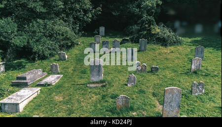 View of tombstones in a small graveyard - Stock Image