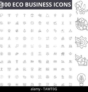 Eco business line icons, signs, vector set, outline illustration concept  - Stock Image