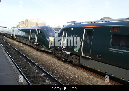 GWR liveried class 800 IET sits in Swindon station on a test run between London Paddington and Taunton on 16/06/2017. - Stock Image