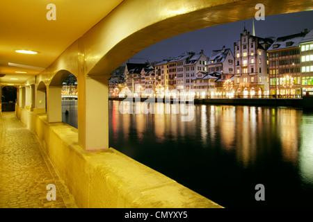 Acades at river Limmat, Zurich, Switzerland - Stock Image