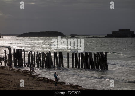 View of sea and groynes with Le Grand Bé and Fort National in the background, Saint Malo, Brittany, France - Stock Image