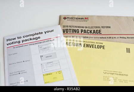 Voting package for the British Columbia provincial referendum on electoral reform, 2018. - Stock Image