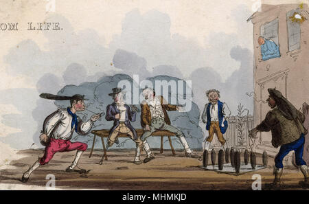 A jovial group of men enjoy an outdoor game of skittles       Date: circa 1830 - Stock Image