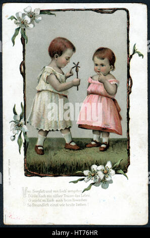 GERMANY - CIRCA 1902: A postcard printed in Germany, shows two little girls (Serie 'Mausi'), circa 1902 - Stock Image