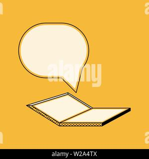 Laptop and one new message in retro style, chat vector illustration on a yellow background - Stock Image