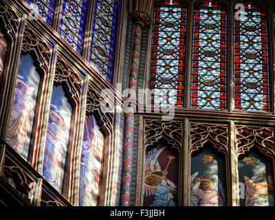 A telephoto lens view of a detail, showing musical angels, of the lantern's interior in Ely Cathedral, Cambridgeshire, - Stock Image