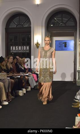 London, UK. 15 September 2018. SamDada at Fashion International in Amba hotel during London Fashion Week. Model: Arlate Kupiec,  Credit:Marcin Libera Credit: Marcin Libera/Alamy Live News - Stock Image